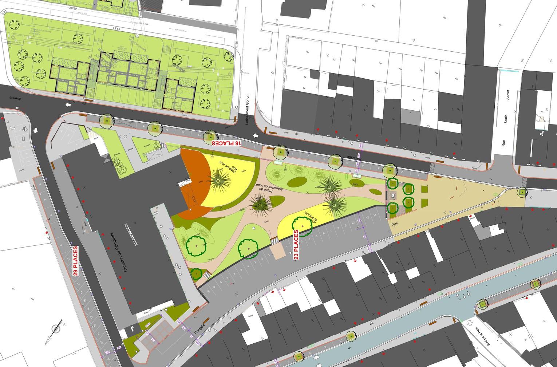 Osmose Paysage, conception et ingénierie de l'espace public, aménagement centre ville d'Yssingeaux (43)